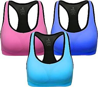 ANGOOL Damen Komfort Klassische Racerback Sport BH Top Fuer Yoga Fitness-Training