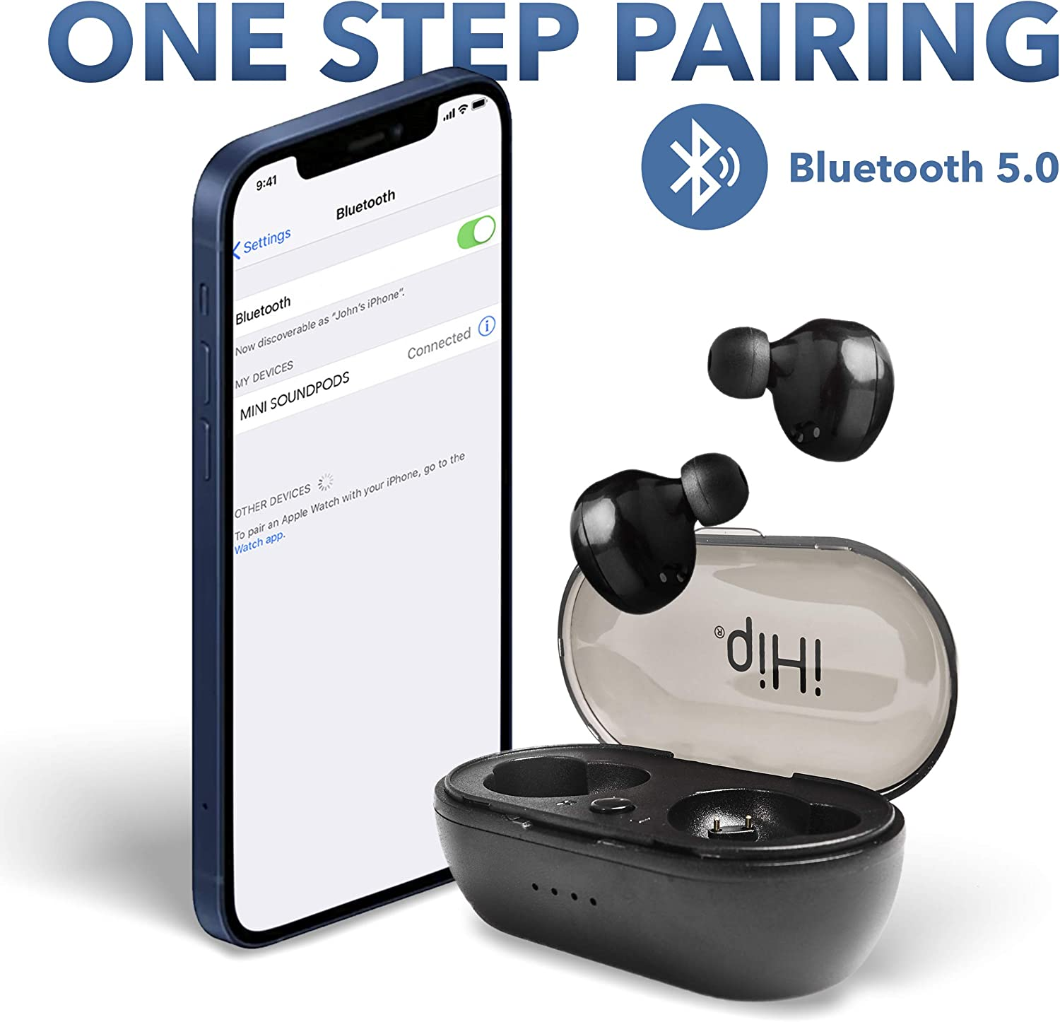 iHip Mini True Wireless Sound Pods (Black pods) with Charging Case. Bluetooth 5.0 Sweatproof Sports Earbuds Built in Microphone for iPhone Android HD Quality for Work/Running/Travel/Gym/Sports