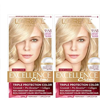 L'Oreal Paris Excellence Creme Permanent Hair Color, 9.5NB Lightest Natural Blonde, 100% Gray Coverage Hair Dye, Pack of 2