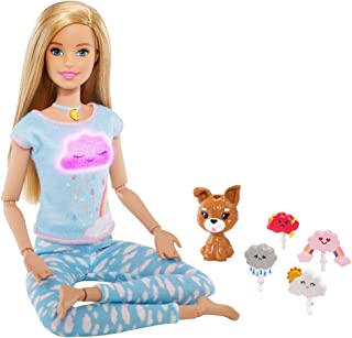 Barbie Breathe with Me Meditation Doll, Blonde, with 5 Lights & Guided Meditation Exercises, Puppy and 4 Emoji Accessorie...