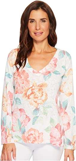 Big Floral Print V-Neck Top