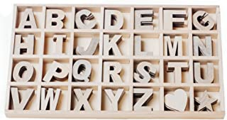 Mega Box of 168 Craft Wood Letters, Varying Natural Colors, Wood Alphabet, 2.125