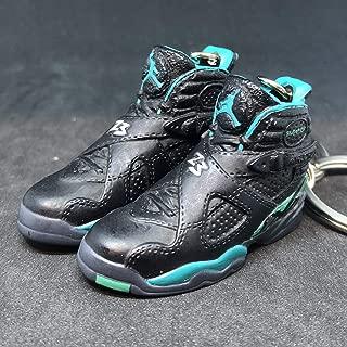 Pair Air Jordan VIII 8 Retro Ray Allen PE OG Sneakers Shoes 3D Keychain 1:6 Figure