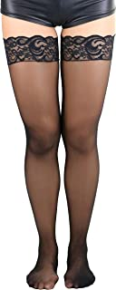 Women's Sheer Nylon Thigh High With Seamless Lace Top