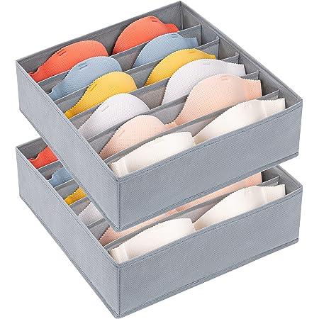 DIMJ Organisateur Tiroir, Lot de 2 Boîte de Rangement Sous Vetement Pliable à 6 Compartiments, Sac de Rangement Pour Soutien-Gorge non Tissé Rangement de Tiroir de Ménage, Gris