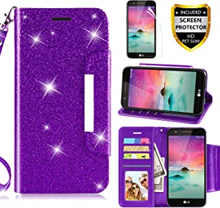 LG K20 Plus Case,LG K20 V Case,LG K10 2017/LG Harmony/LG Grace LTE Wallet Case w [Screen Protector], [Kickstand] [Card Slots] [Wrist Strap] 2 in 1 Glitter Magnetic Flip PU Leather Skin,Rosegold