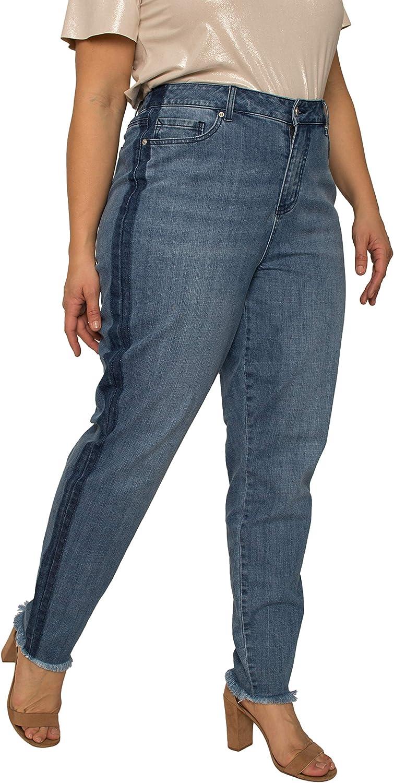 Standards & Practice Women's Plus Size Denim Skinny Jeans with Shadow Leg Stripe