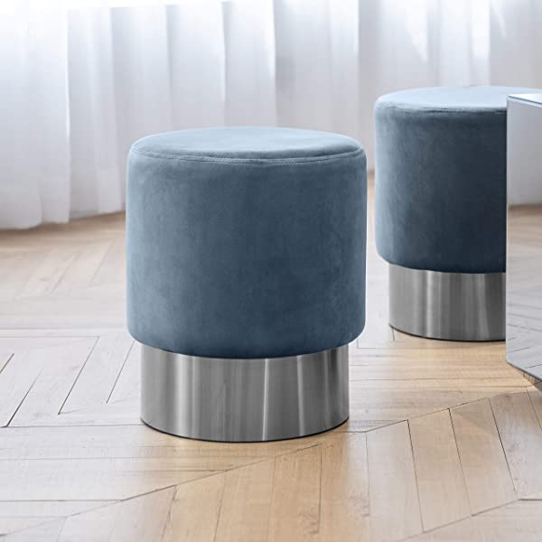 Art Leon Small Round Velvet Ottoman Upholstered With Silver Plating Base Footstool Rest Extra Seat Pack Of 1 Light Blue