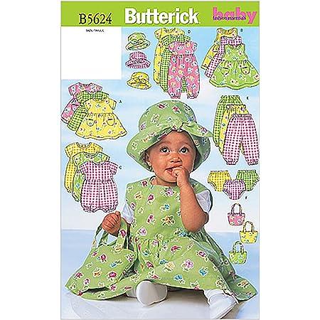 Butterick Patterns b5624Grande Taille L-XL Enfants Robe Pull Barboteuse Combinaison Culotte Chapeau et Sac, Lot de 1, Blanc