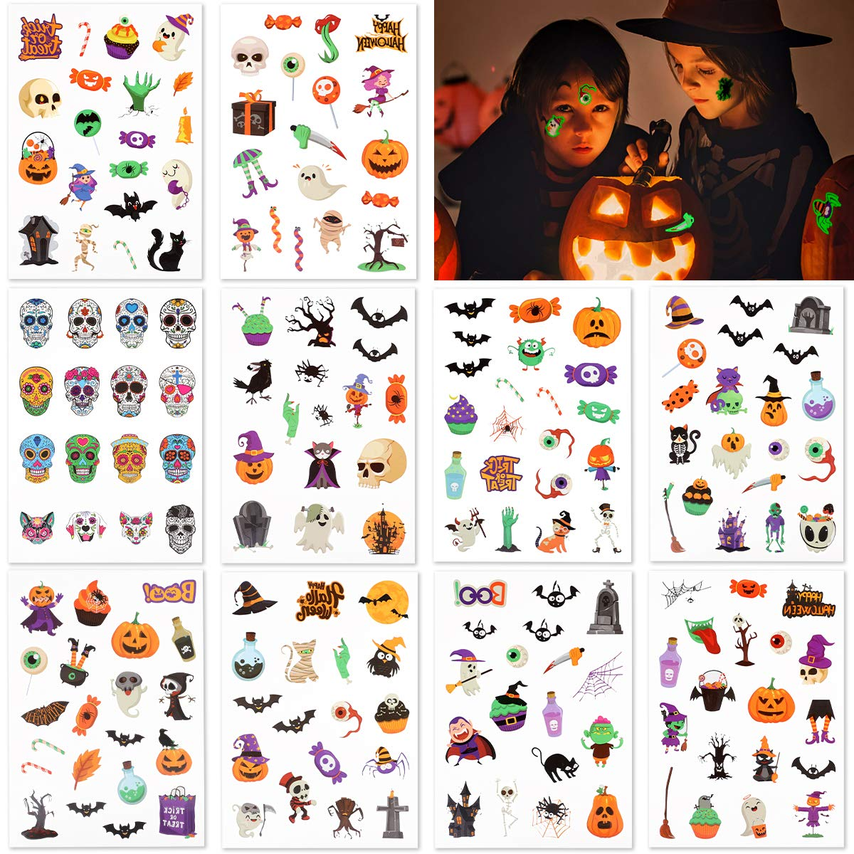 FRCOLOR Raleigh Max 66% OFF Mall Halloween Tattoos for 187pcs T Temporary Kids