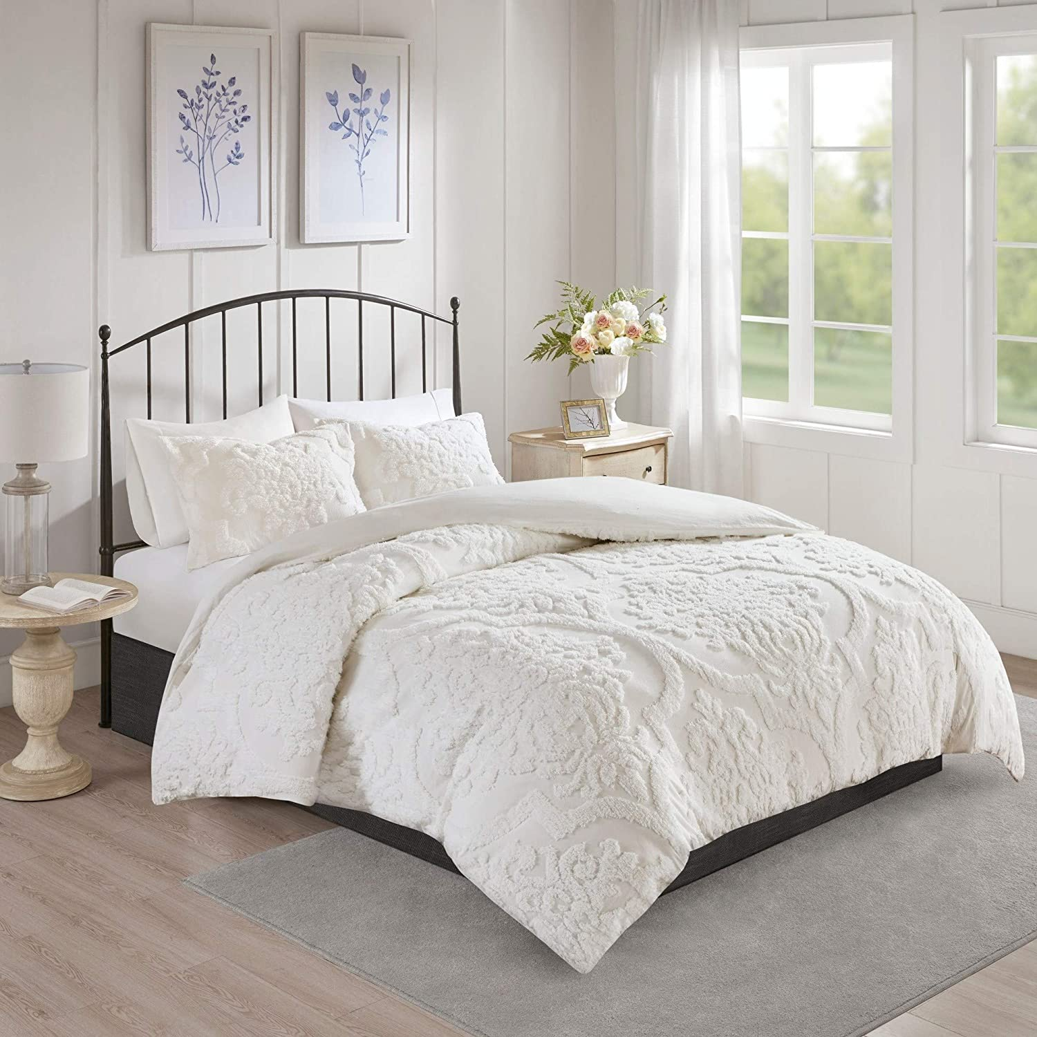 MISC 3 Piece White Max 45% OFF Tufted Popular products Chenille King Cover Duvet Set Cal