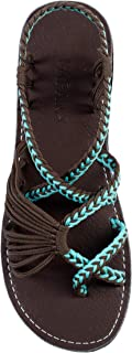 Capana Criss Cross Summer Hand-Woven Rope Flat Sandals for Women Banyan