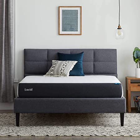 LUCID 8 Inch Memory Foam Plush Feel – Gel Infusion – Hypoallergenic Bamboo Charcoal – Breathable-Cover Bed-Mattress Conventional, Twin, White