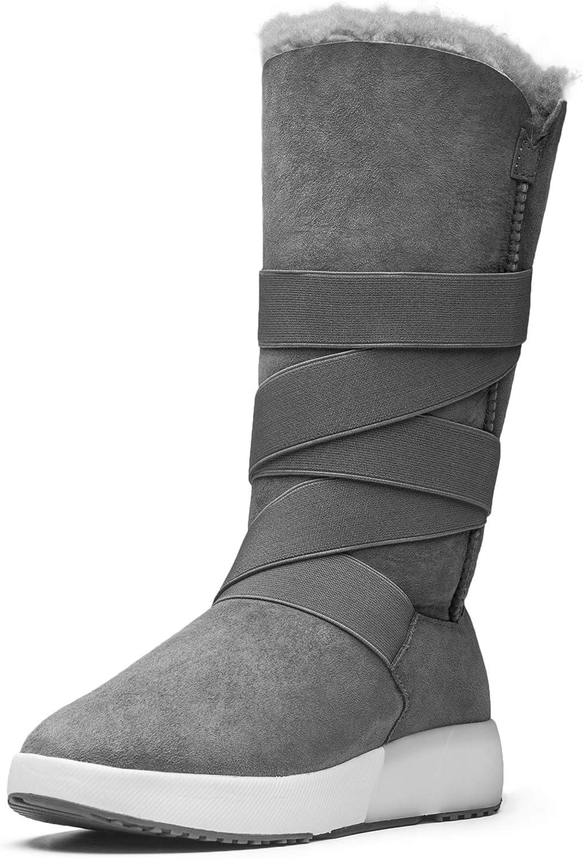 Aumu Twine Elastic Band Metal Buckle Knee High Warmth Winter Snow Boots
