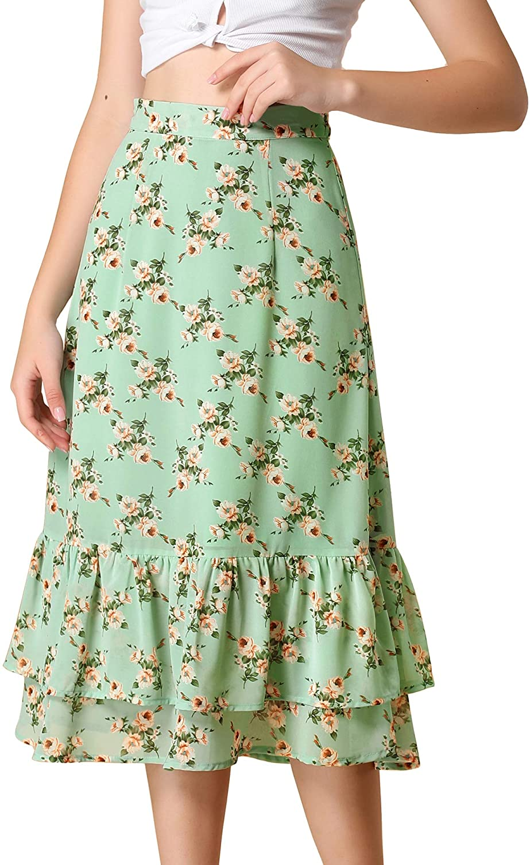 Cottagecore Clothing, Soft Aesthetic Allegra K Womens Floral Skirt Chiffon Elastic Waist Ruffle Tiered Flowy Midi Skirts  AT vintagedancer.com