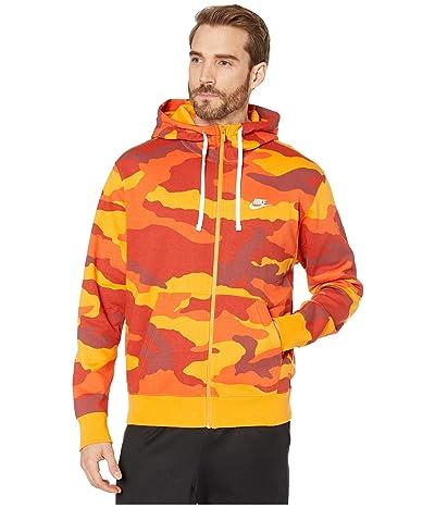 Nike NSW Club Hoodie Full Zip Camouflage (Kumquat/Kumquat/Summit White) Men