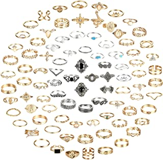 FIBO STEEL 92PCS Vintage Gold Knuckle Rings Set for Women Bohemian Stackable Finger Rings Fashion Snake Crystal Stacking M...