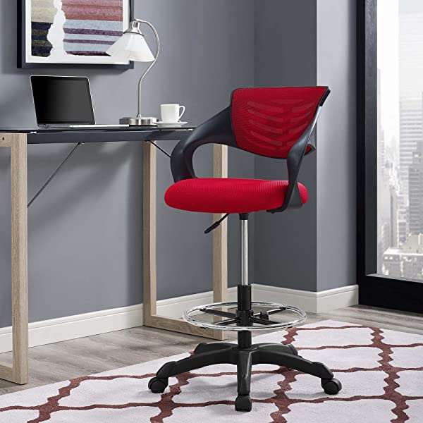 Modway Thrive Drafting Chair In Red Reception Desk Chair Tall Office Chair For Adjustable Standing Desks
