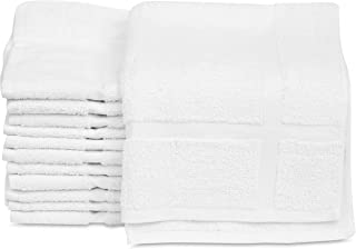 12 Pack New Cotton Economy Bath Mats (White,18x25 inches) Light Weight Fast Drying Commercial Grade Bath Rugs