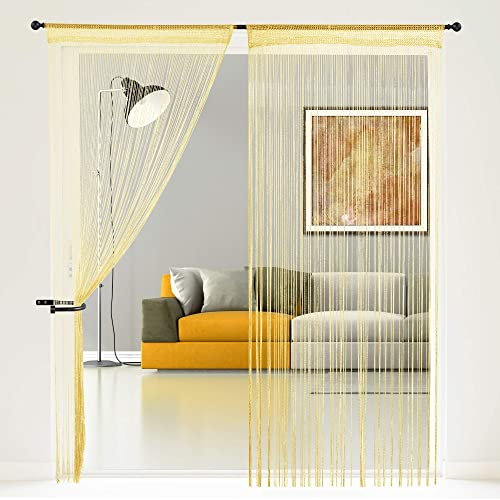 Story@home Fancy Sparkling1 Piece Polyester String Beads Hanging Curtain - 7ft, Golden