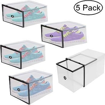 Cajas para Guardar Zapatos (5 Piezas) - Caja de Zapatos Plástico Transparente Corrugado Zapatos Pantuflas - Cajas Estilo Cajón Apilable y Plegable - Caja Zapatos Organizador Botas ideal para Viajes: Amazon.es: Hogar