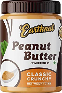 Earthnut Classic Peanut Butter Crunchy 1Kg (Sweetened / Gluten Free / Non-GMO / Vegan)