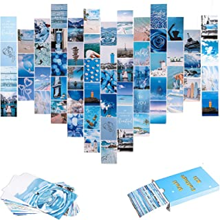 60PCS Blue Aesthetic Pictures Wall Collage Kit , Trendy Wall Art Prints Kit for Room, Dorm Photo Display, VSCO Poster for ...