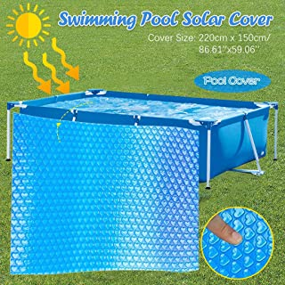 IZHH Round Rectangular Pool Cover, Swimming Pool Endothermic Protector, Frame Pool Cover, Swimming Pool Cover, Rainproof Dust Cover (220X150cm)