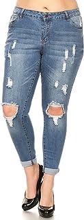 wax jean Plus Size Women's Low Rise Distressed Denim Skinny Jeans