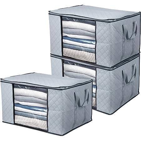 BoxLegend Lot de 3 Sac de Rangement pour Couette en épais Non-tissé Sac de Rangement sous lit pliables couette literie couvertures Oreillers Jouets Vestes organisateurs 60 x 43 x 35 cm