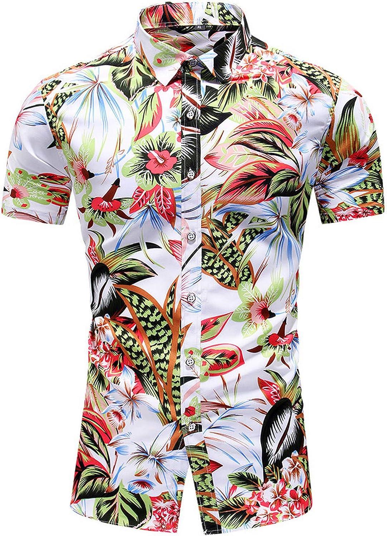 Men's Stand Collar Hawaiian Short Sleeve Shirts Summer Button Down Youth Casual Tropical Floral Print Tee Shirt