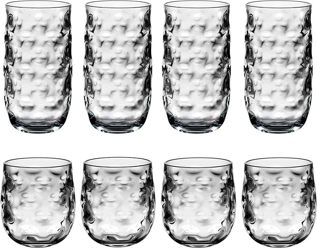 QG Clear Light Grey Acrylic Plastic 14 23 Fl Oz Cup Drinking Glass Tumbler Set Of 8