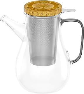amapodo Teekanne Glas mit Sieb 1100ml Kanne für Tee isoliert aus Borosilikatglas inkl. Bambus Deckel auch als Teesieb Ablage geeignet