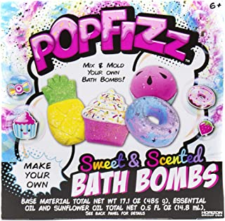 Pop Fizz Make Your Own Sweet & Scented DIY Bath Bombs by Horizon Group USA, Make 4 Sweet Treat Scented Colorful Summer Bath Bombs with Essential Oils, Cupcake, Doughnut, Pineapple & Watermelon Mold