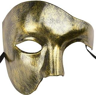 KEFAN Mascarilla para Hombre Máscara para Disfraz Fantasma de la ópera Máscara para Rostro (Oro)