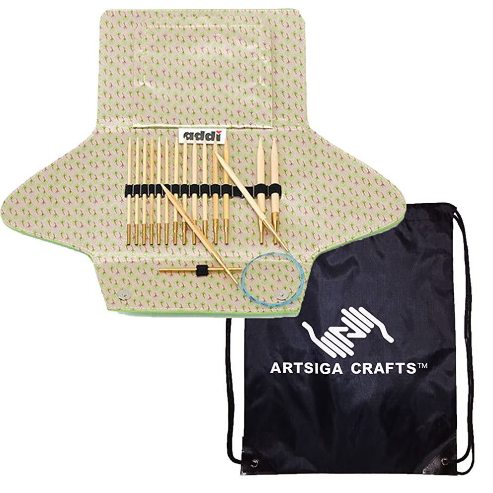 addi Knitting Needle Click Natura Bamboo Interchangeable System with Skacel Exclusive Blue Cords Bundle with 1 Artsiga Crafts Project Bag