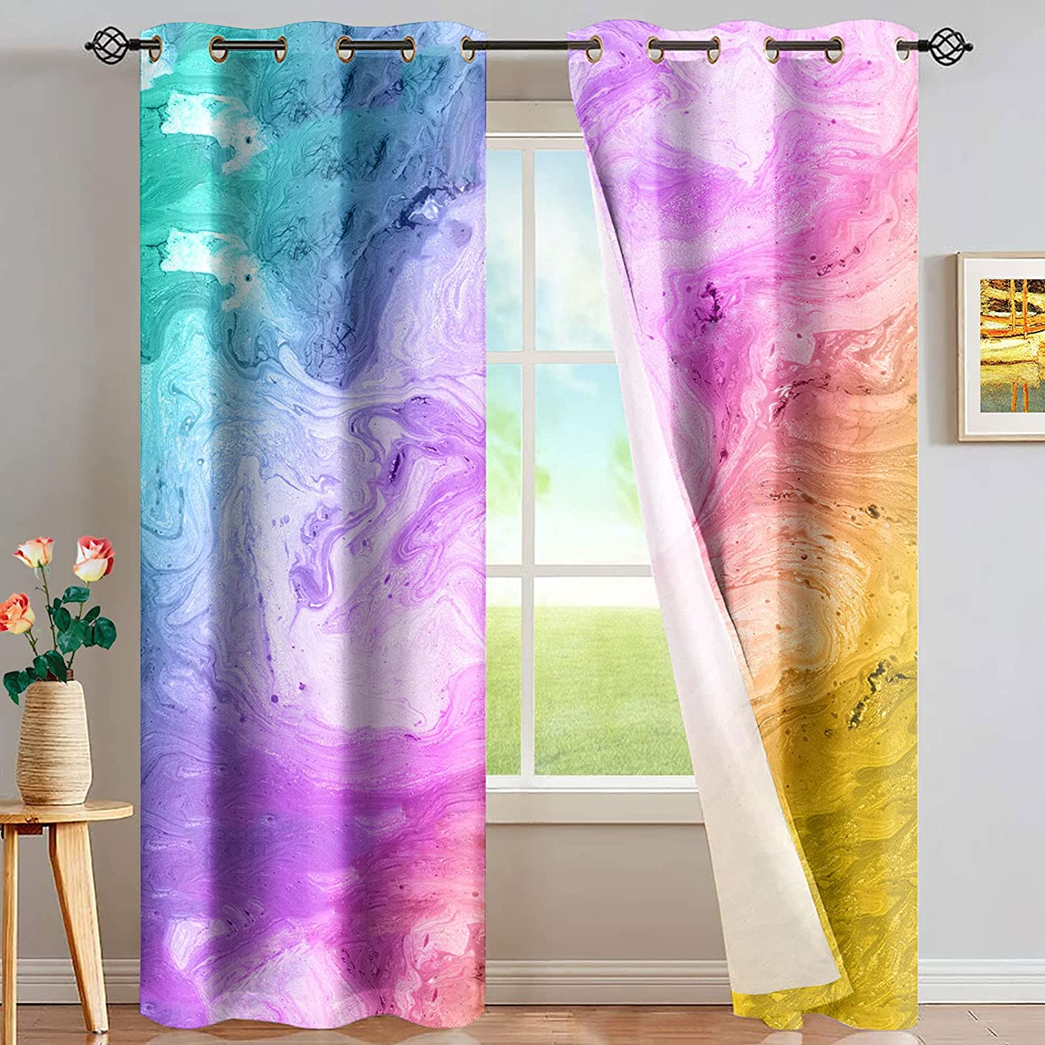 QIZHAOLAN Same day shipping Colorful Max 63% OFF Marble Blackout Curtain Gro Treatments Window
