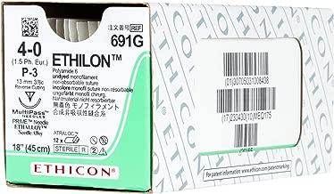 Ethicon ETHILON Nylon Suture, 691G, Synthetic Non-absorbable, P-3 (13 mm), 3/8 Circle Needle, Size 4-0, 18