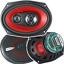 2 Audiobank 6x9 700 Watt 3-Way Red Car Audio Stereo Coaxial Speakers - AB6970 photo