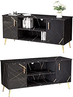 LVSOMT Black Marble TV Stand for TV up to 50 Inches, Wood Television Cabinet, TV Table with...