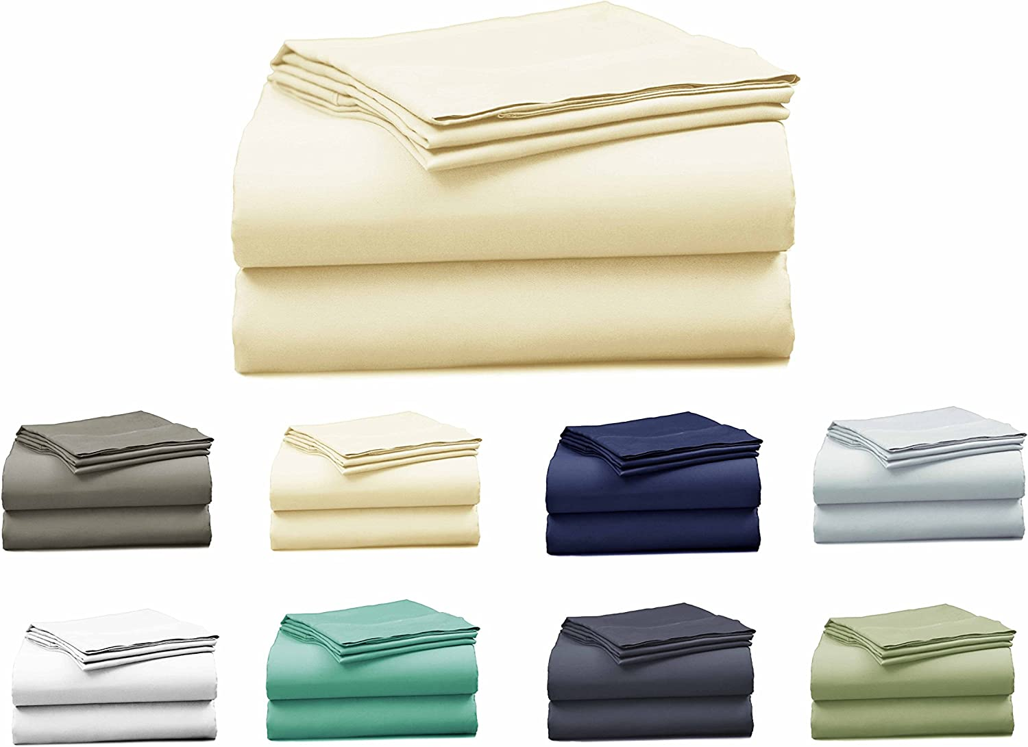 Elles Bedding Collections Bed Sheets 100% Cotton Sheet Set, 400 Thread Count, Sateen Weave, 15 inch Deep Pocket, 4-Piece Bedsheet set IVORY, Queen