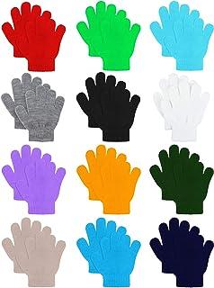 12 Pairs Kids Warm Magic Gloves Teens Winter Stretchy...
