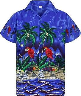 V.H.O. Funky Hawaiian Shirt | Men | XS-12XL | Short-Sleeve | Front-Pocket | Hawaiian-Print | Parrots Palms Summer | Multip...