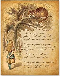 Alice Speaks to Cheshire Cat - 11x14 Unframed Alice in Wonderland Print- Great Gift for Lewis Carroll Fans and Nursery and Children's Room Decor Under $15