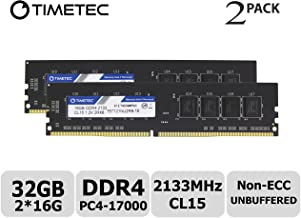 Timetec Hynix IC 32GB KIT(2x16GB) DDR4 2133MHz PC4-17000 Non ECC Unbuffered 1.2V CL15 2Rx8 Dual Rank 288 Pin UDIMM Desktop PC Computer Memory Ram Module Upgrade (32GB KIT (2x16GB))
