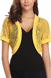 Women Short Sleeve Floral Lace Shrug Open Front Bolero Cardigan