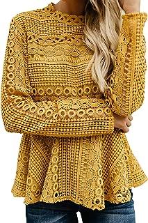 BerryGo Women's Hollow Out Lace Ruffle Blouse Long Sleeve Peplum Top Shirt
