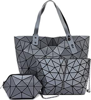 Geometric luminous purses and handbags shard lattice eco-friendly Leather handbag+crossbody+pouch 3pcs set