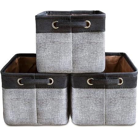 Lot de 3 Grands Paniers de Rangement Ensemble de Boîtes de Rangement Cube de Rangement Organisateur Pliable en Tissu de Toile Pliable Avec Poignées Pour Placard de Breau à Domicile (Gris)