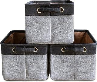 Lot de 3 Grands Paniers de Rangement Ensemble de Boîtes de Rangement Cube de Rangement Organisateur Pliable en Tissu de To...